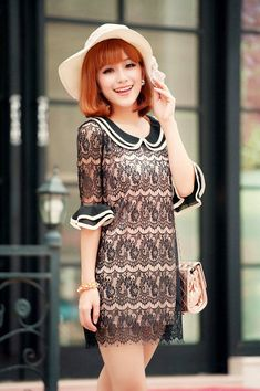 Fashionable & Sweet Doll Collar Middle Sleeve Lace Spliced Slim Dress----Black