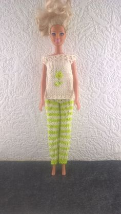 Summer outfit for Barbie. Green and cream striped leggings and cream top with embroidered flower for 12inchdoll. OOAK hand knit…