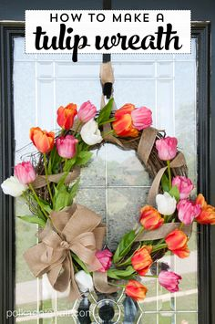 Learn How to make a tulip wreath which is a great idea for a DIY Spring Wreath for your front door. Spring Flowers wreath tutorial,