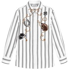 Boys black and white striped shirt by Dolce & Gabbana, made with smooth cotton. With a western theme, it has stunning embroidered appliqués of a horse, cowboy hat and horse shoe with a glittery gold lasso. There is a pleat at the back, for a more comfortable fit and it fastens with buttons on the front and cuffs. $532.81