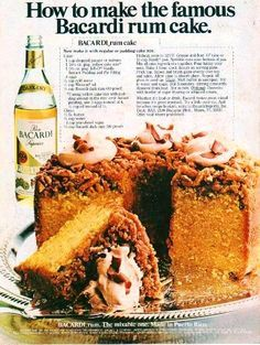 Bake the Very Popular Bacardi Rum Cake Bicardi Rum Cake Recipe 1 cup chopped pecans or walnuts 1 oz. Just Desserts, Delicious Desserts, Dessert Recipes, Food Cakes, Cupcake Cakes, Cupcakes, Cake Cookies, Bolo Normal, Coconut Dessert