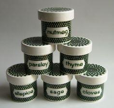 Poole Robert Jefferson Gallery Green Diamond pottery spice jars 1963 vintage
