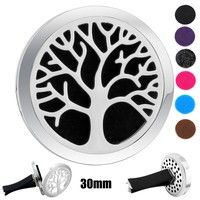 316 Stainless Steel  Tree of life design essential oil Car DiffuserCar Aroma Locket Essential Oil Diffuser Lockets