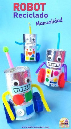 Recycled Robot, Recycled Crafts Kids, Diy Crafts For Kids, Easy Crafts, Recycle Crafts, Craft Activities For Kids, Preschool Crafts, Robot Crafts, Diy Robot