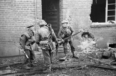 British infantry in action in the streets of Geilenkirchen