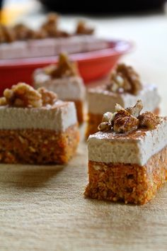 Raw carrot cake bites with cashew cream frosting. Sounds interesting