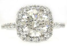 14k white gold round cut diamond engagement ring halo 2.00ctw. $8,299.00, via Etsy.