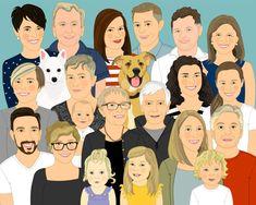 Extended family Illustration. Family portrait. #pets @EtsyMktgTool http://etsy.me/2y9USDc #customportrait #familyillustration
