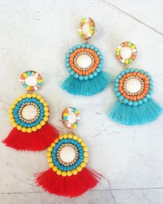 Cha-cha-cha! Embellished and adorned earrings in vibrant colors They are showstoppers ! ✨#statementearrings