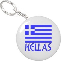 "Lovely design shows the Flag of Greece, or Greek Flag, with the name, or word, ""Hellas"" underneath. Word shows in the same colors (colours) as the Greek tricolor (tricolour) flag. Fun to use the proper Greek word Hellas.  Our photographic quality key chains are similar to our buttons and magnets.  Buy one at a time or save money with a 10 pack or 50 pack. $4.50"