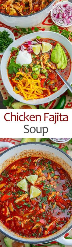 Chicken Fajita Soup is full of flavor and fun toppings to make every bowl unique. The best part is one pot cooking with a Dutch oven or slow cooker.