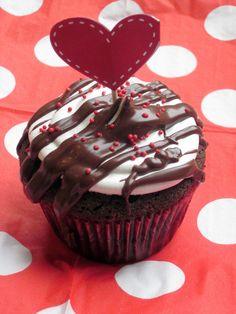 Chocolate Cupcakes - made to look extra pretty for Valentine's Day.