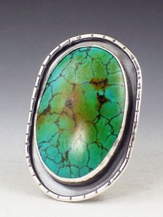 Large Turquoise Ring size 8 ring blue green by MicheleGradyDesigns