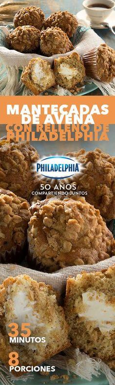 Esos días en que cuidarte puede esperar con tal de saborear algo delicioso como estas Mantecadas de avena con relleno de Philadelphia. #recetas #receta #quesophiladelphia #philadelphia #quesocrema #queso #comida #cocinar #cocinamexicana #recetasfáciles #recetasPhiladelphia #recetasdecocina #comer #mantecadas #avena #mantecada #panque #panquecito #recetapan #pan