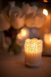 Lace wrapped candle