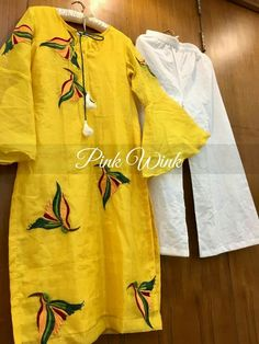 Yellow Chanderi silk Kurti Palazzo at reasonable price Cash on delivery available Order now on www. Embroidery Suits Punjabi, Hand Embroidery Dress, Embroidery Suits Design, Churidar Designs, Kurta Designs Women, Blouse Designs, Designer Punjabi Suits, Indian Designer Wear, Indian Gowns Dresses