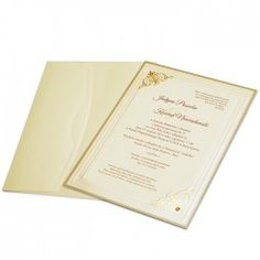 An elegant invitation The insert is made from ecru textured paper. A frame is embossed on the insert. The cover is ecru made from pearl paper. Amber crystals form an additional decoration. The envelope is ecru, made from pearl paper.