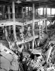 Fiat Lingotto Factory in Turin damaged by bombing during WW2