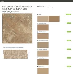 """Vela SO Floor or Wall Porcelain Tile 6 1/2"""" x 6 1/2"""" (15.63 sq.ft/pkg). Glass Tile. Flooring & Rugs. Menards. Behr. Benjamin Moore. PPG Pittsburgh. Ralph Lauren Paint. Sherwin Williams. Valspar Paint. Dutch Boy.  Click the gray Visit button to see the matching paint names."""