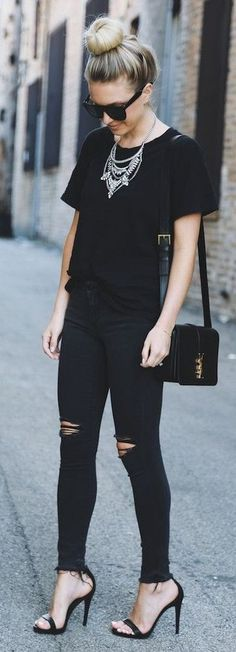 #Spring #Outfits #2018 All Everyhing Black Off Duty