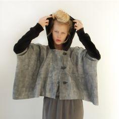 Malibu Native - Leather / Fleece Hooded Poncho