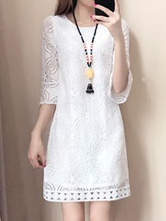 Round Neck Lace Lace Shift Dress , formal dresses maxi dresses womens dresses summer dresses party dresses long dresses casual dresses dresses for wedding , # Cute Dresses, Casual Dresses, Fashion Dresses, Women's Dresses, Cheap Dresses Online, Dress Silhouette, Two Piece Dress, Buy Dress, Dress Lace