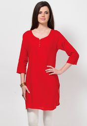 Sport a stylish look with this red coloured kurta from Kurti's. The pintucks add more appeal to this kurta. This cotton kurta can be worn comfortably all day long and will look great when matched with black coloured leggings.