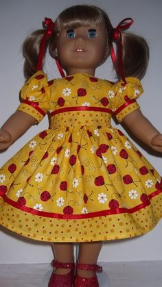 American Girl Doll Clothes  Yellow Ladybug Dress by susiestitchit