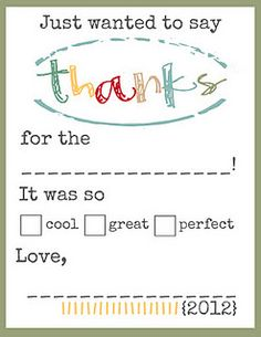 thank you cards for baby shower.  short and sweet.  perfect when you are taking care of a baby!