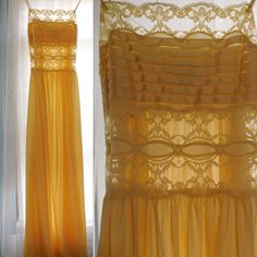 Vintage Nylon Lingerie Semi Sheer Gown 1970s Rosa Paleo-Szule LILY of FRANCE Daffodil Yellow Size Petite Small Nightgown by CompulsiveNeurons on Etsy https://www.etsy.com/listing/472814792/vintage-nylon-lingerie-semi-sheer-gown