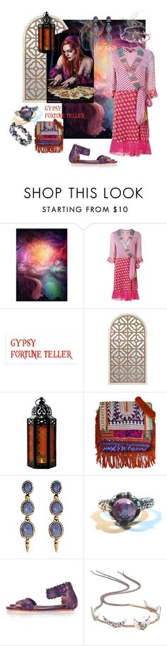 """Gypsy Fortune Teller"" by valeria-mezhevikina ❤ liked on Polyvore featuring Diane Von Furstenberg, Vintage Addiction, Alexis Bittar, House of Harlow 1960, Berry, boho, diane and gypsy"