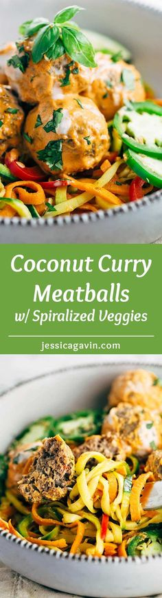 Coconut Curry Meatballs with Spiralized Vegetables - A grain-free recipe infused…