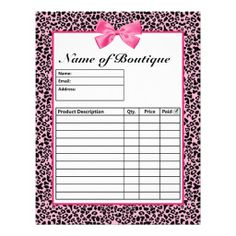Make customer ordering easy with these cute and trendy pink and black leopard print boutique order forms embellished with girly hot pink ribbon design tied into a cute bow. Personalize by adding the name of your store or online shop. These stylish order form templates have a place for a product description, quantity and sales price.