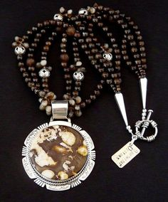 Peanut Wood and Sterling Pendant with 3 Strands of Bronzite, Amber Quartz, Czech Glass & Sterling