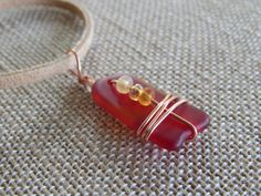 Glass Pendant Red Orange Wire Wrapped by UniqueChiqueJewelry, $14.00