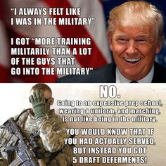 Fucking coward!  Not one, but five deferments.