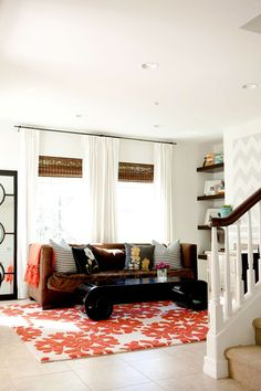 Wood blinds with white curtains