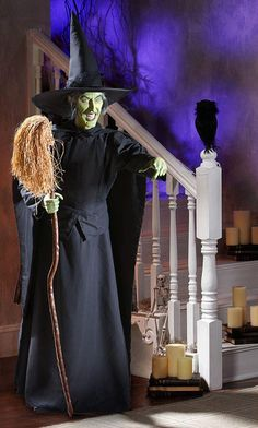 We've seen this for ourselves, and this animated figure is truly scary. The Wicked Witch of the West comes to life in this life-size version of the iconic Wizard of Oz villain. She speaks phrases directly out of the movie in true character voice. Guaranteed to creep you out. Your Halloween haunted house will actually be haunting with this very lifelike witch.