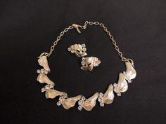 Vintage Designer CORO Clear Rhinestone Necklace Clip Earring Set Runway #Coro