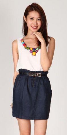Paperbag Skirt (Navy)