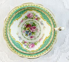 Foley Green Tea Cup and Saucer, Windsor Pattern, Vintage Bone China