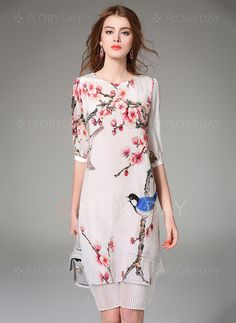 Dresses - $96.88 - Silk Floral Half Sleeve Knee-Length Vintage Dresses (1955099855)
