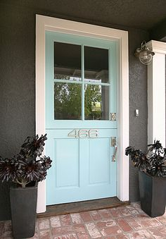 Dark gray and pale turquoise door, loving it