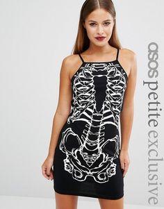 ASOS Petite - Vestito attillato a collo alto per Halloween con stampa di scheletro