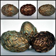 "~""Dragon Eggs Ancient Metals"" - Made of polymer clay over hollow eggs via MandarinMoon 