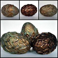 "~""Dragon Eggs Ancient Metals"" - Made of polymer clay over hollow eggs via MandarinMoon | Flickr -"