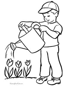 Printable summer coloring pages boy watering Flowers, coloring sheets and pictures. Tree Coloring Page, Bible Coloring Pages, Flower Coloring Pages, Printable Coloring Pages, Coloring Books, Summer Coloring Sheets, Coloring Pages For Kids, Adult Coloring, Art Drawings For Kids