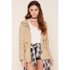 Forever 21 Women's  Button-Front Utility Jacket ($28) ❤ liked on Polyvore featuring outerwear, jackets, forever 21 jackets and forever 21