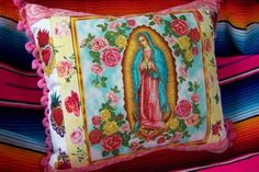 Virgen de Guadalupe Motif Mexican Pillow With by RanchoRomantico