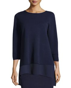 Interlock Bateau-Neck 3/4-Sleeve Boxy Top, Plus Size by Eileen Fisher at Neiman Marcus.